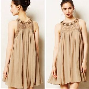 Anthro, beaded tan dress. Sz 2